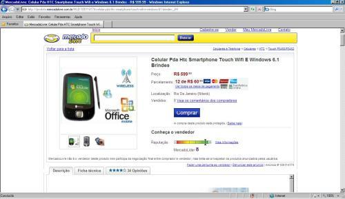 """HTC Touch """"ChingLing"""" sendo oferecido como original!"""