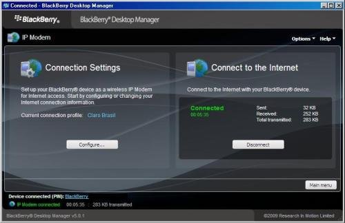 Blackberry como modem via Desktop Manager... FUNCIONA!