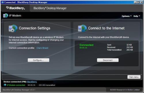 Blackberry como modem via Desktop Manager... FUNCIONA!